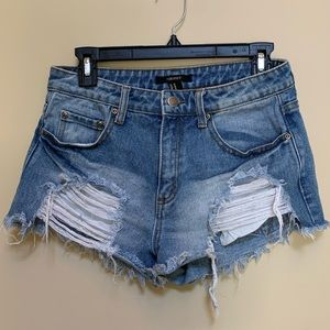 Forever 21 - Ripped Jean Shorts